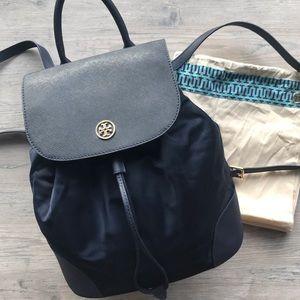 Tory Burch Dena Leather Nylon Backpack